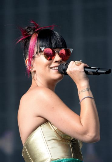 Lily Allen Sports Fendi Iridia Sunglasses