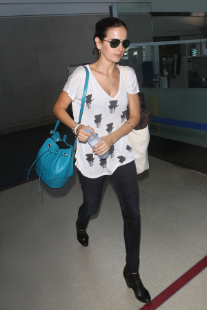 Camilla Belle Wears Gucci Technocolor Sunglasses In LA