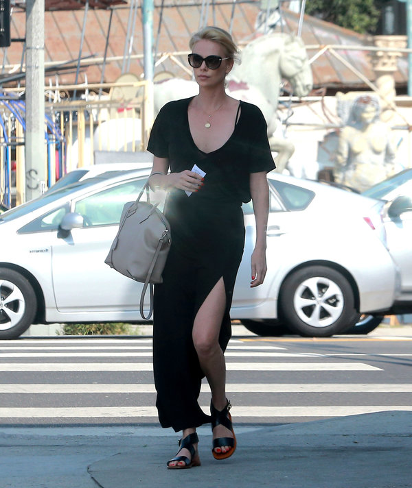 Charlize Theron Sighted Wearing Salvatore Ferragamo