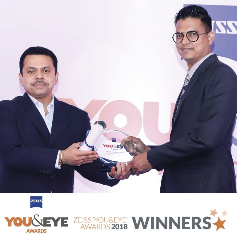 Mittal Optics, Aurangabad wins Best Marketing Initiative-Boutique Store (Non-Metro) in ZEISS 'YOU&EYE' AWARDS 2018