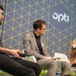 "opti Trendtalk with fashion blogger Franziska Albrecht and, among others, Youtube star Philipp Steuer, ""More Visibility through Social Media in Ophthalmic Optics?"" under the moderation of Dr. Patrik Hof, spokesman of the opti organizer GHM"
