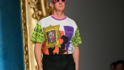 Jeremy Scott Walking The Ramp In Moschino Eyewear