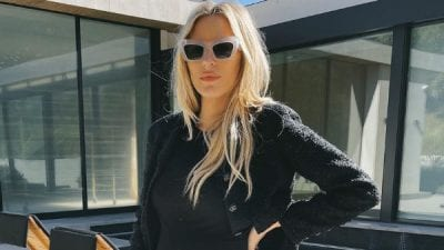 Morgan Stewart Lounges in Loewe Sunglasses